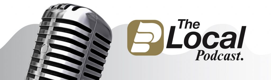 The Local Podcast Logo with Microphone